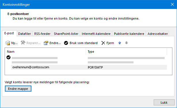 Dialog boksen innstillinger for Outlook-konto