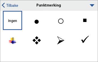 Punkt-kommando som viser formateringsalternativer