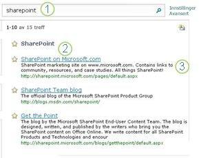 Tre hete tips for SharePoint Server vises øverst på siden med søkeresultater