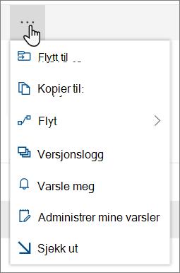 Meny alternativene Flytt til og kopier til i det øverste navigasjons feltet for SharePoint Online når filer eller mapper er valgt