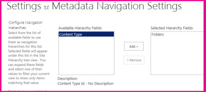 Du kan bruke innstillinger for metadatanavigasjon til å angi metadatafeltene som kan legges til i en navigasjonstrekontroll.
