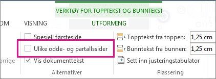 Alternativer for topptekst og bunntekst