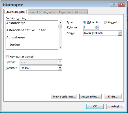 Dialogboksen Stikkordregister