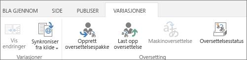 Skjermbilde av kategorien Variasjoner på målnettstedet. Kategorien inneholder to grupper, variasjon og oversettelse