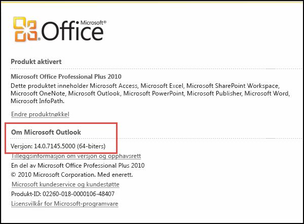 Skjermbilde av siden der du kan se Outlook 2010-versjonen under Om Microsoft Outlook