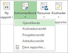 Instrumentbord-meny i kategorien Rapport