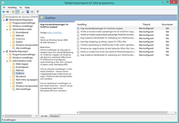 OneDrive-innstillinger i redigeringsprogrammet for databehandling