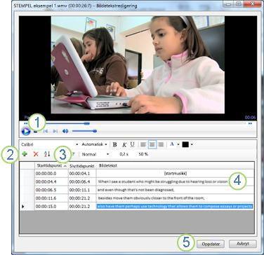 Redigeringsprogram for bildetekst med angitt bildeforklaring
