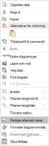 Excel Win32 redigere alternativ tekst-menyen for pivotdiagrammer