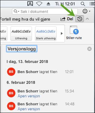 Versjonslogg-knappen åpner Versjonslogg-ruten, som lar deg velge tidligere versjoner av dokumentet