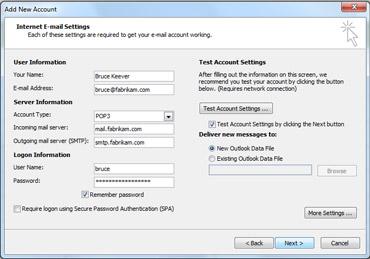 Dialogboks for manuell kontokonfigurasjon
