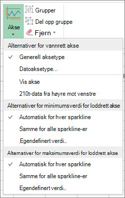 Akseknapp på Utforming-fanen for Sparkline-verktøy