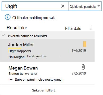 Bruke Søk til å finne e-post i Outlook