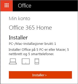 Min konto-siden i Office Store med Installer-knappen