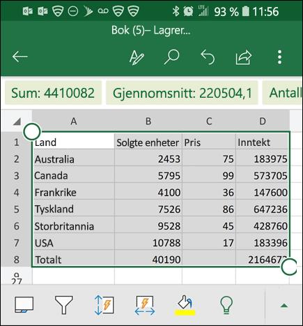 Dataene blir konvertert og returnert til rutenettet i Excel.