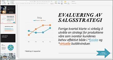 Presentasjoner med koblinger som er formatert med forskjellige farger