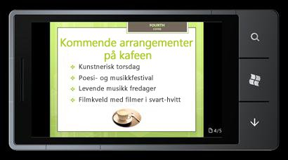 PowerPoint Mobile 2010 for Windows Phone 7: Redigere og vise på telefonen