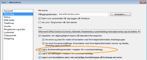 Personlige alternativer for Lync