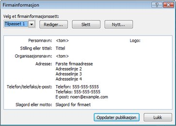 Redigere et firmainformasjonssett i Publisher 2010