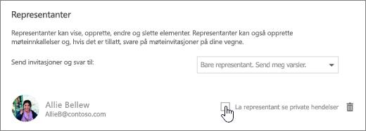 Et skjermbilde av avmerkingsboksen Lla representanten vise private hendelser.