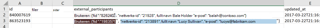 Skjermbilde av eksempel data eksporteres til en fil