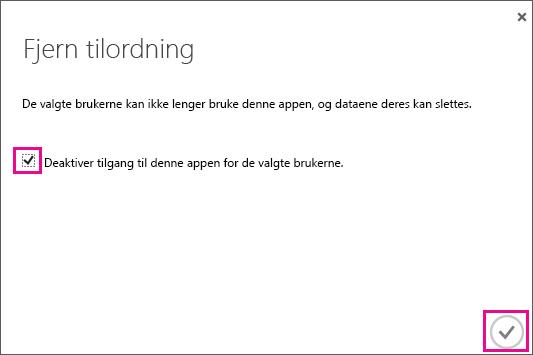 Viser dialogboksen i Azure AD med avmerkingsboksen du må velge hvis du vil fjerne tilgang til tjenesteklarering for denne brukeren. Deretter velger du ikonet nederst i høyre hjørne for å fullføre.