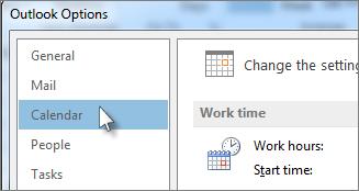 Klikk Kalender under Alternativer for Outlook.