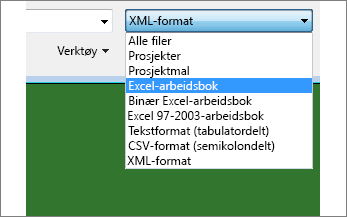 Velge hvilken Excel-arbeidsbok som skal åpnes for data