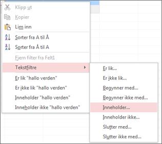 Hurtigmeny som viser tekstfiltreringsalternativer