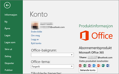Microsoft-kontoen som er knyttet til Office vises, i kontovinduet i et Office-program