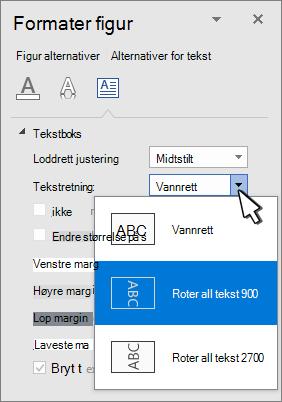 Tekst effekter-panelet med tekst retning valgt