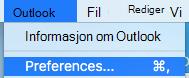 Viser Outlook-innstillinger