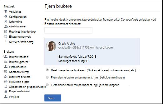 Skjermbilde som viser hvordan du deaktiverer en bruker i Yammer