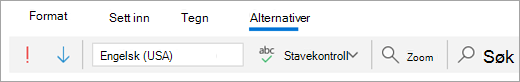 Et skjerm bilde av alternativer-fanen