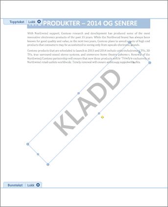 Bilde av dokument med Kladd-vannmerke.