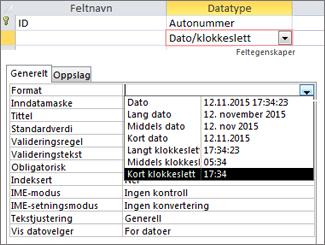 Format-egenskapen for et dato/klokkeslett-felt.