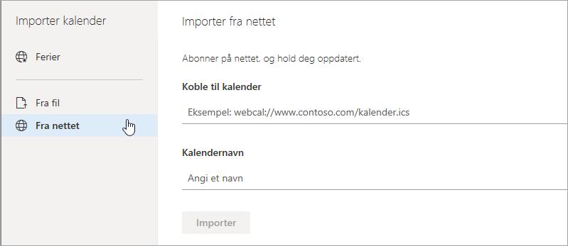 Et skjermbilde av Import fra web-alternativet