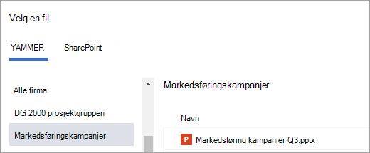 Liste over Yammer-filer