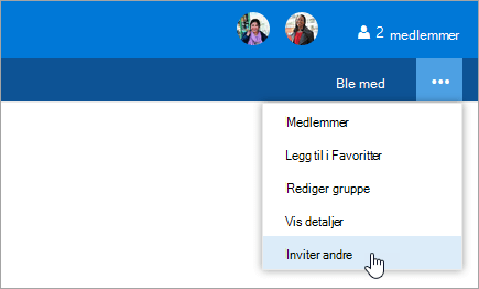 Et skjermbilde av Inviter andre-knappen i gruppen Innstillinger-menyen.