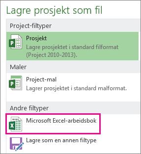 Lagre prosjektfil som Microsoft Excel-arbeidsbok