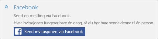 Nærbilde av skjermens «Facebook»-del av «Legg til en person»-dialogboksen, med «Send invitasjon via Facebook»-knappen.