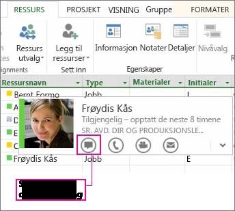 Kontakte peroner med Lync
