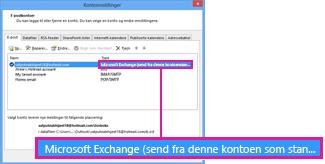 Microsoft Exchange-konto slik den vises i dialogboksen Kontoinnstillinger