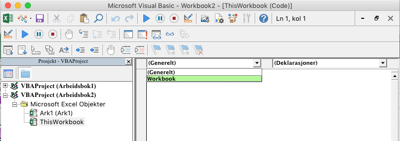 Visual Basic Editor viser rullegardinliste for objektvalg