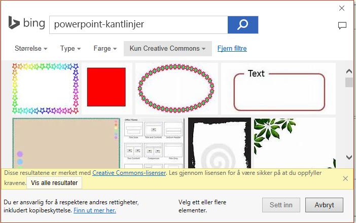 Resultatene av et søk etter PowerPoint kantlinjer i Bing.