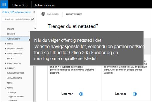 I Office 365 velger du Offentlig nettsted