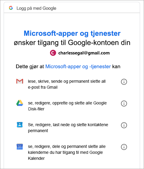 be om Google-tillatelse