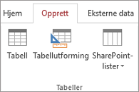 Access-båndkommandoer for Opprett > Tabellutforming