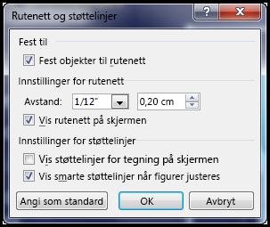 Dialogboksen Rutenett og støttelinjer for PowerPoint
