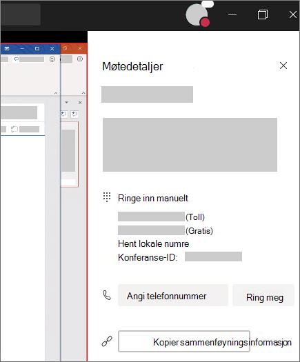 I møte detaljene finner du innringings numre og et område du kan skrive inn telefon nummeret ditt og få Teams til å ringe deg.